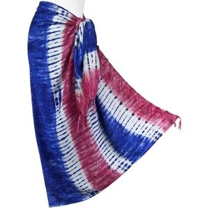 Other - Tie-Dyed Red, White & Blue Stripe Sarong